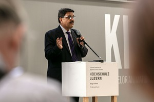 Laudation Master Design Preis : Pradyumna Vyas , Direktor des NID -  National Institute of Design - Ahmedabad/Indien, Vernissage Werkschau 2018, Hochschule Luzern ̶- Design & Kunst