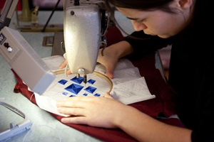 Working in the embroidery workshop