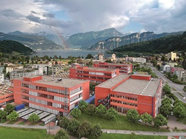 The Horw campus of the Lucerne School of Engineering and Architecture is situated between Mount Pilatus and the lake.