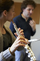 Transverse flute student during her lesson with Pirmin Grehl.