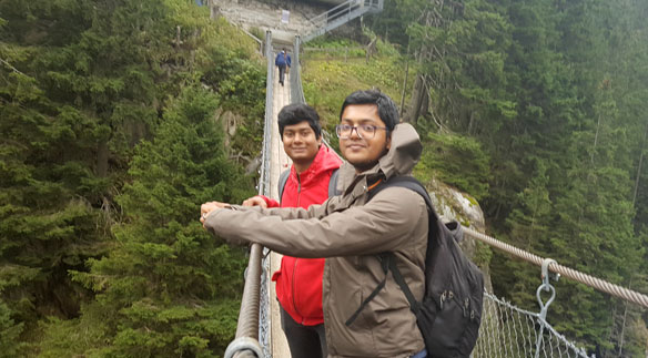 The hanging bridge of Handeck is a typical attraction in the Swiss Alps.
