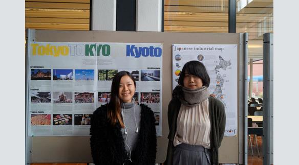 Students from Japan presenting their home university.