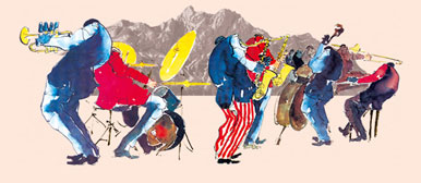 Illustration von Jazzmusikern im Logo des Jazz Club Luzerns.