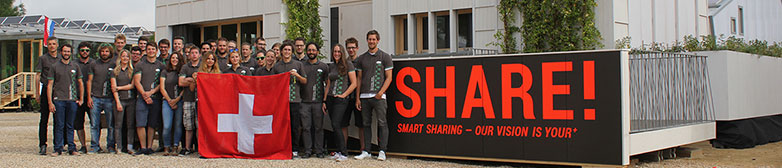 The team from the Lucerne University of Applied Sciences and Arts after completion of the solar house in Versailles.