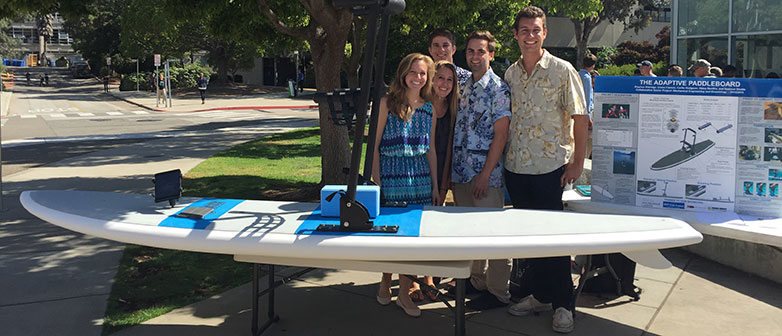 The student team of Cal Poly with their Mechanical Engineering Final Senior Project 'Adaptive Paddle Board'.